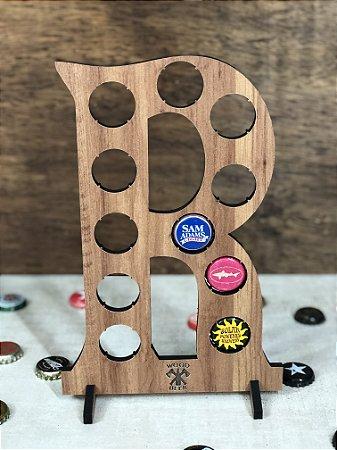 Quadro Porta-Tampinhas Alfabeto Wood - Letra R