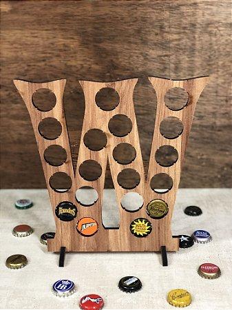 Quadro Porta-Tampinhas Alfabeto Wood - Letra W