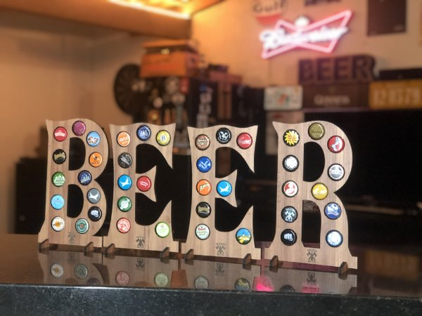 Quadro Porta-Tampinhas Alfabeto Wood - Kit 4 letras