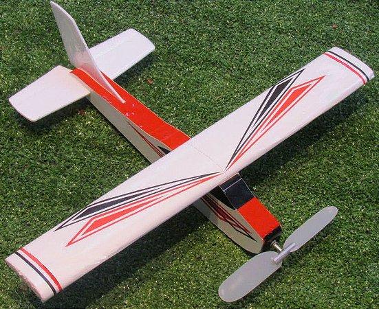 Aeromodelo CESSNA 210 vermelhoe branco que voa até 60 metros
