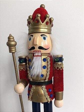 Soldado Quebra Nozes - 30 cm - vermelho/azul