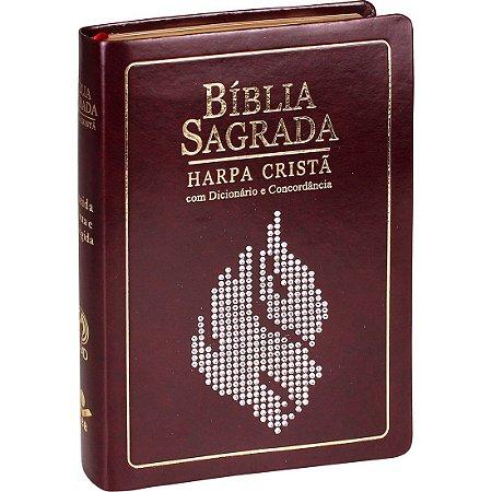 Bíblia Sagrada Letra Grande com Harpa Almeida RC Vinho Nobre