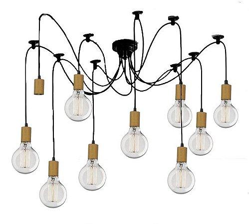 Lustre Para 10 Lâmpadas Pendente com acabamento em Madeira  - Thomas Edison