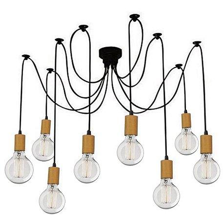 Lustre Para 8 Lâmpadas Pendente com acabamento em Madeira  - Thomas Edison