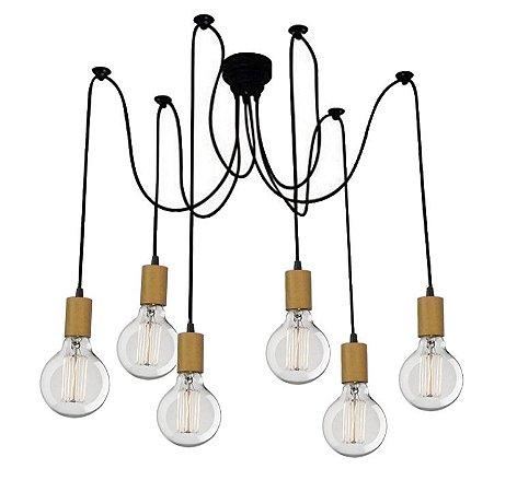 Lustre Para 6 Lâmpadas Pendente com acabamento em Madeira  - Thomas Edison