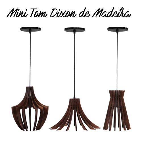 Kit 3 Pendentes Mini Tom Dixon De Madeira