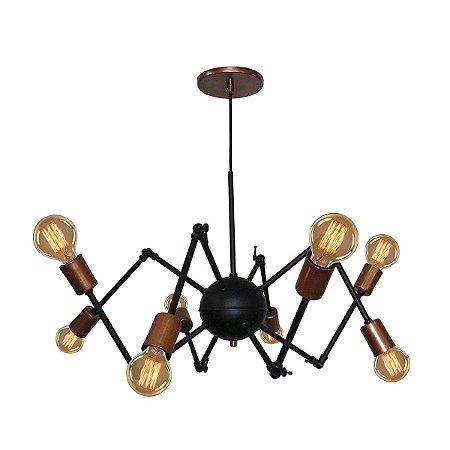 Lustre Pendente Aranha Spider Para 8 Lâmpadas