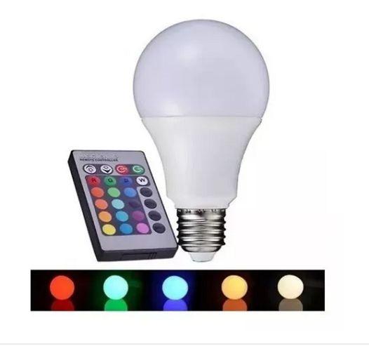Lampada Bulbo Led Rgb 7w Com Controle Bivolt Multi Cor
