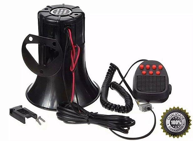 Sirene Automotiva 7 Tons Microfone Sons Policia Bombeiro Rontan Buzina
