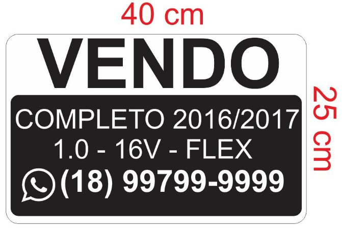 Adesivo Vendo para carro - vende-se  25 x 40 cm