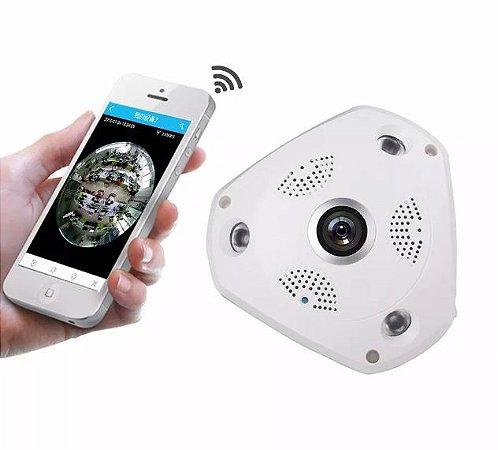 Camera Ip Hd Panoramica 360 Wifi Lente Olho De Peixe 1,3 Mp - Veja pelo celular