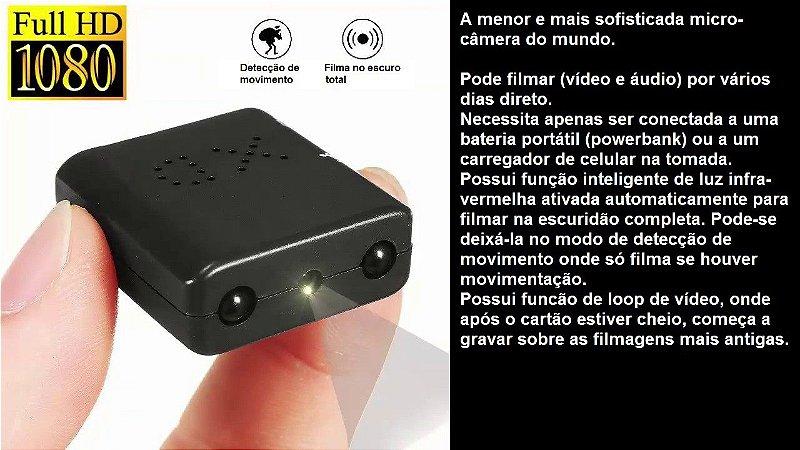 Micro câmera espiã gravação contínua vários dias
