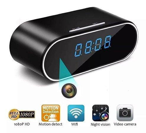 Câmera Espiã Relógio De Mesa Despertador 1080p Hd Ir Visão Noturna