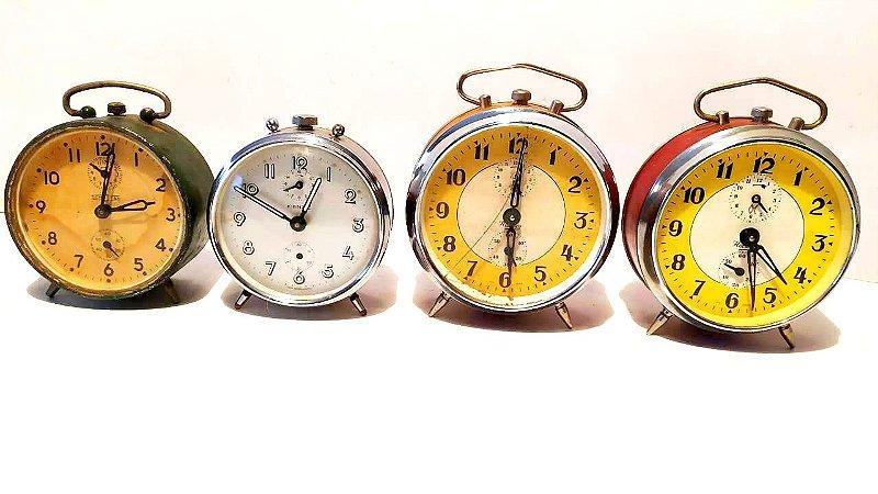 Despertador antigo retrô - Lote com 4 unidades Relógio antigo