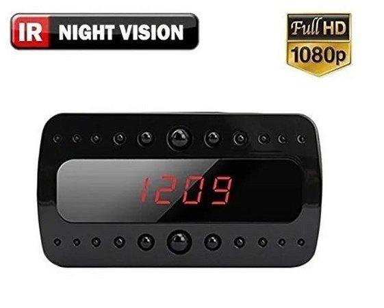 Câmera Espiã Relógio Despertador de mesa 1080p Hd Ir Visão Noturna