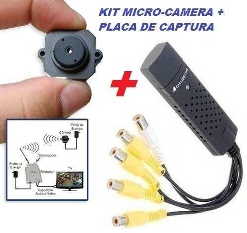 Micro Câmera sem Fio Wirelles com Placa de Captura CFTV