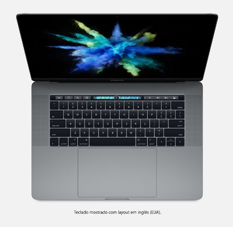 Apple Macbook Pro 15 Touch Bar 2016 / 2017 MLH42BZ/A Intel Quad Core i7 2,7 GHz 16GB 512GB SSD - Cinza espacial - MLH42