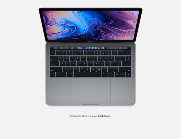 Apple Novo Macbook Pro Touch Bar 13 2019 MV972BZ/A I5 2.4 ghz 8gb 512 ssd  Cinza Espacial / Space Gray MV972