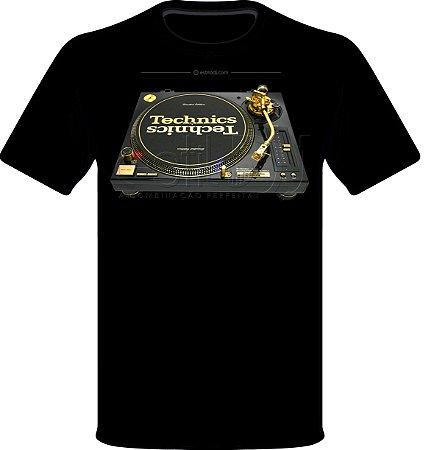 Camisetas para DJ Modelo Technics Toca Discos SL-1200GLD Limited Edition - Preta