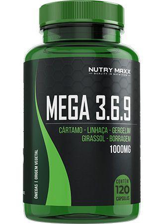 Ômegas 3, 6 e 9 em cápsulas 1000mg MEGA 3,6,9 NUTRY MAXX 120 cápsulas