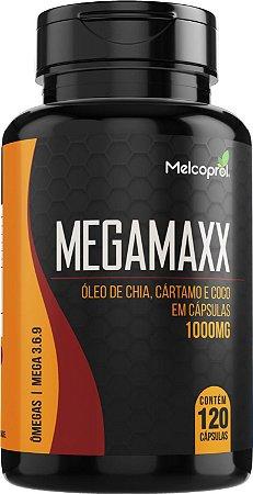 Ômegas 3, 6 e 9 - Óleo de Chia, Cártamo e Coco em Cápsulas - Megamaxx 120 cápsulas 1000mg