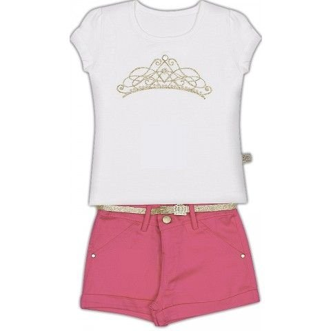 Le Petit - Conj Blusa Viscose com Shorts em Maquinetado Lurex