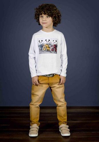 Le Petit - Conj Camiseta Meia Malha com Calça Sarja em Elastano