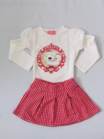 Le Petit - Conj Blusa Cotton com Saia Jaquard