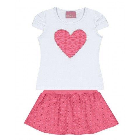 Le Petit - Conj Blusa Cotton com Saia/Shorts Tecido Rebordado e Tule