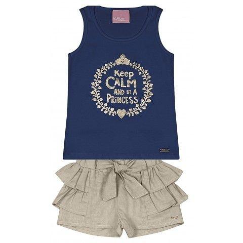 Le Petit - Conj Regata Nadador em Cotton com Shorts em Linho