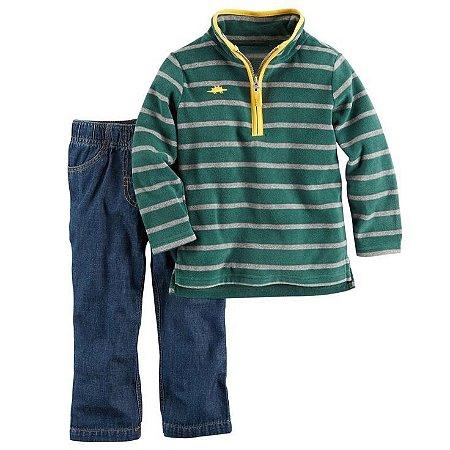Carter's Conjunto Inverno em Fleece Listrado Verde