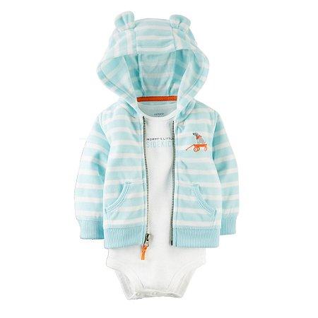 Carter's - Body Malha e Jaqueta Fleece Capuz Azul