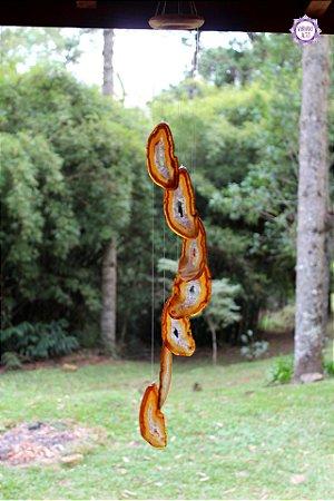 Móbile Mensageiro dos Ventos de Ágata 76cm | Equilíbrio Emocional e das Energias Yin e Yang
