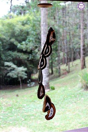 Móbile Mensageiro dos Ventos de Ágata 77cm   Equilíbrio Emocional e das Energias Yin e Yang