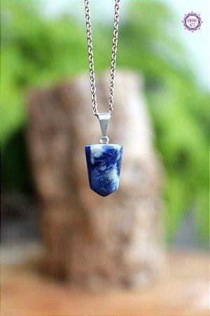 Pingente Pontinha Sodalita (Pino Prateado) aprox. 2g | Pedra da Intuição e Insight!