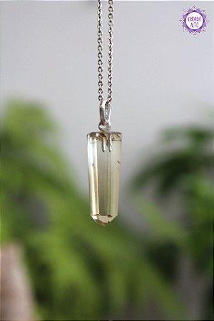 Pingente Ponta Citrino Natural (Prata 950) 4.5g | Cristal da Manifestação, Prosperidade e Criatividade