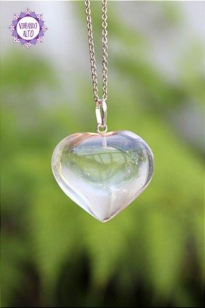 Pingente Coração Quartzo Transparente (Prata 950) 7g | Cristal de Limpeza, Purificação e Cura!