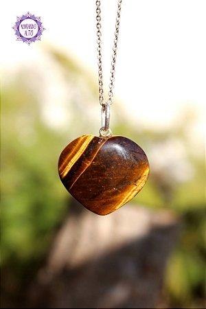 Pingente Coração Olho de Tigre (Prata 950) 7g | Cristal do Discernimento, Vitalidade e Força
