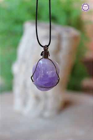 Colar Ametista com Cordão Preto Ajustável (Arame Cobreado) | Cristal de Proteção e Transmutação