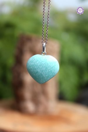 Pingente Coração Amazonita (Prata 950) | Pedra da Verdade e Comunicação