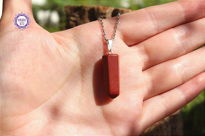 Pingente Pontinha Jaspe Vermelho (Pino Prateado) 3g | Pedra da Memória e Energia Kundalini!