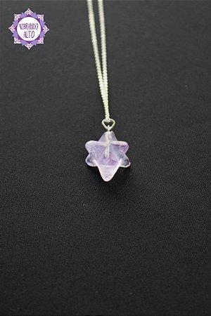 Pingente Merkabah Ametista (Prata 950) 5g | Cristal de Proteção e Transmutação!