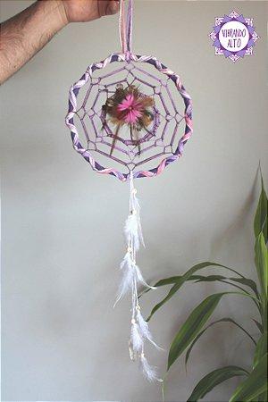 Filtro dos Sonhos com Cristal de Quartzo | Cor Lilás, Rosa e Branco aro 20