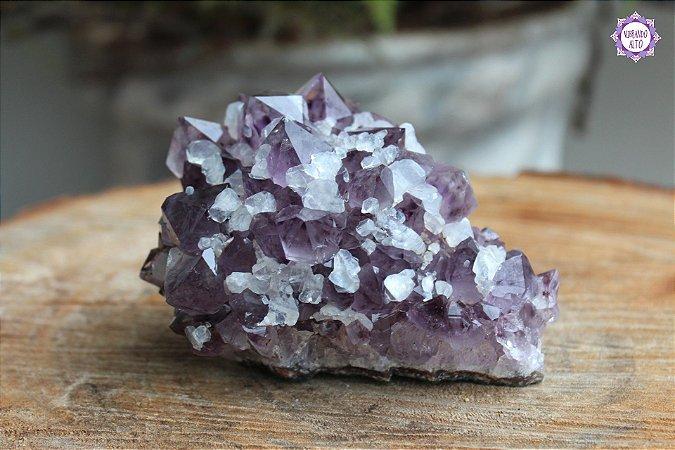 Drusa de Ametista com Quartzo 476g | Cristal de Proteção, Transmutação e Comunicação Divina