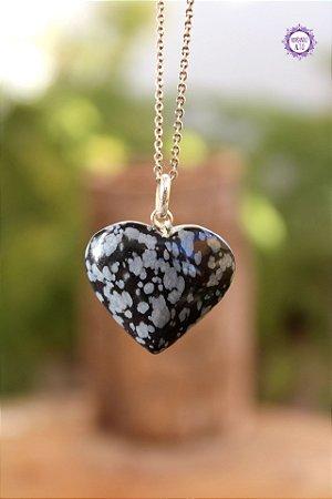 Pingente Coração Obsidiana Floco de Neve (Prata 950) | Pedra da Orientação e Comunicação Espiritual