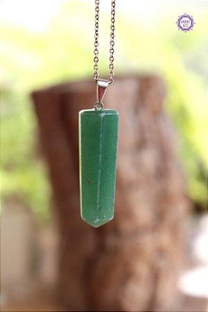 Pingente Pontinha Quartzo Verde (Pino Prateado) | Cristal de Cura e Manifestação