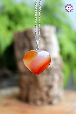 Pingente Coração Ágata Cornalina (Prata 950) | Pedra da Manifestação, Coragem e Ação