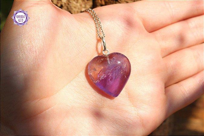 Pingente Coração Ametrino (Prata 950) 6g | Pedra da Clareza Mental e Espiritual!