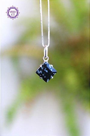 Pingente Mini Obsidiana Floco de Neve (Prata 950) 1g | Pedra da Orientação e Comunicação Espiritual!
