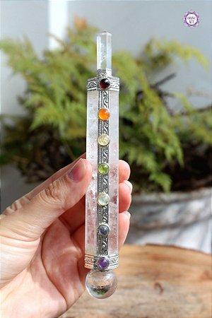 Bastão Atlante Sete Chakras de Cristal 91g |Cristal de Limpeza, Purificação e Cura